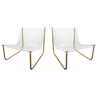 """Pair of Lucite and Brass """"Sling"""" Lounge Chairs by Charles Hollis Jones For Sale"""