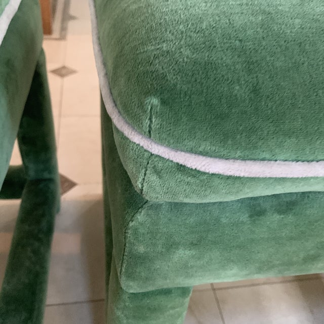 Textile John Mascheroni for Swaim Emerald Green Velvet Parsons Stools - a Pair For Sale - Image 7 of 10