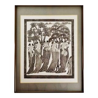 Vintage Framed Black & White Asian Woodblock Engraving For Sale