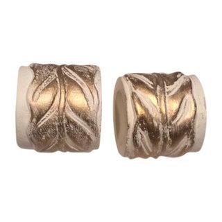 Vintage White Hand Carved Gilt Napkin Rings - 14
