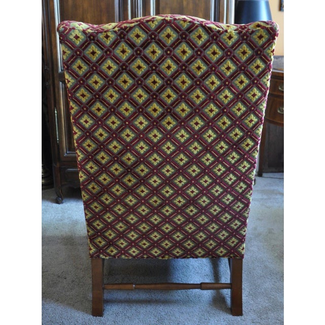 Textile Baker Wingback Chairs - A Pair For Sale - Image 7 of 8