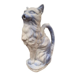 19th Century French Saint Clement Painted Ceramic Barbotine Cat Pitcher For Sale