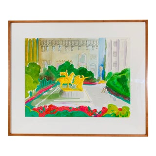 Central Park Watercolor Painting For Sale