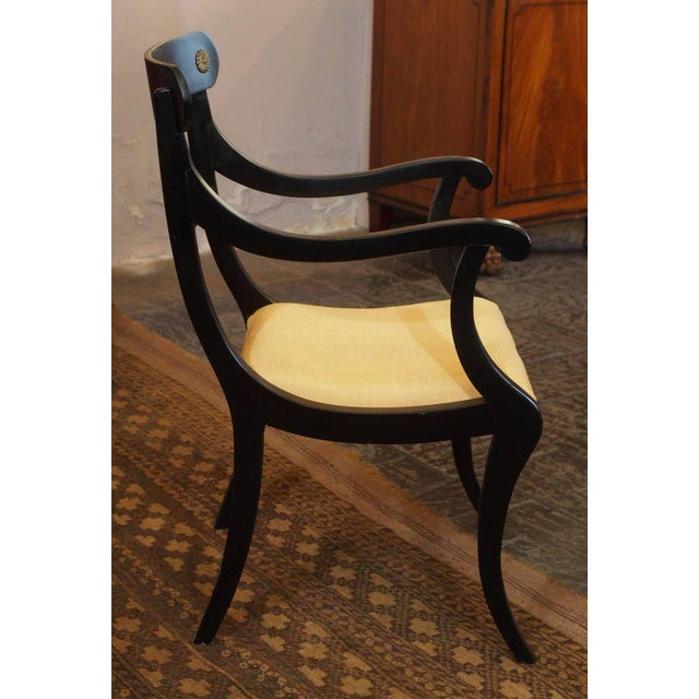 Textile Set of Eight Ebonized Dining Chairs, Regency Style, circa 1920 For Sale - Image 7 of 10