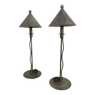 1980s Robert Sonnemann for Kovacs Gray Metal Table Lamps - a Pair For Sale