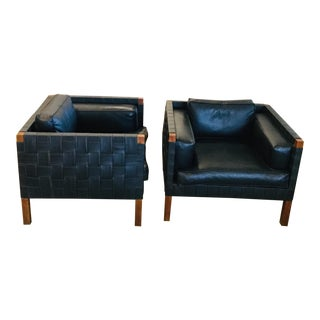 1970s Basket Weave Faux Leather Chairs - a Pair For Sale