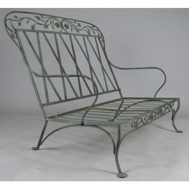 Art Nouveau Wrought Iron Settees by Salterini, Circa 1950 - a Pair For Sale - Image 3 of 11