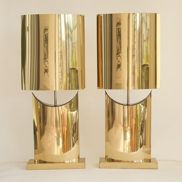 Brass Monumental Curtis Jere Brass Lamps - a Pair For Sale - Image 8 of 8