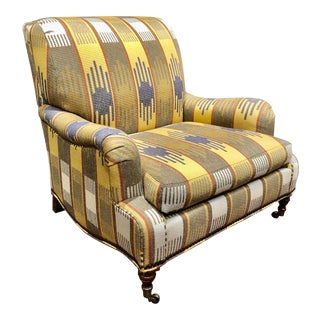 Ralph Lauren Blue Label English Roll Arm Chair in a Southwestern Themed Upholstery For Sale