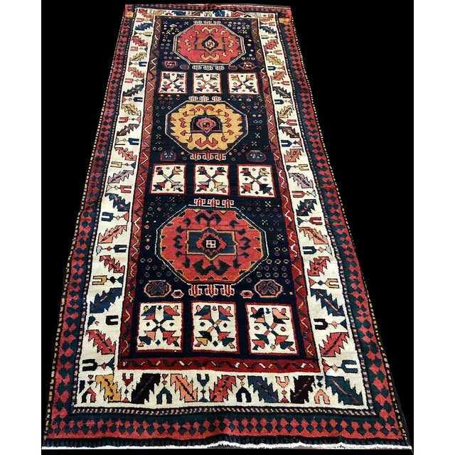 Textile Early 19th Century Antique Persian Bakhtiari Runner Rug - 3′8″ × 9′ For Sale - Image 7 of 7