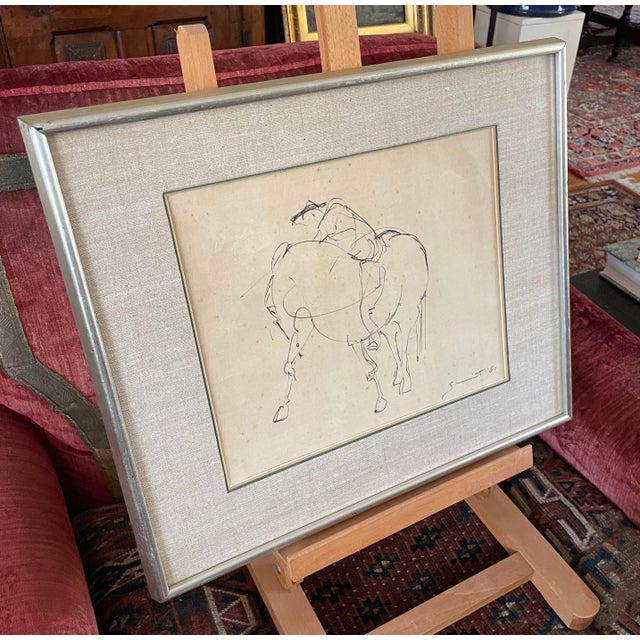 1961 Surrealist Style Abstract Graphite Drawing of a Horse by Walter Quirt, Framed For Sale In Minneapolis - Image 6 of 9