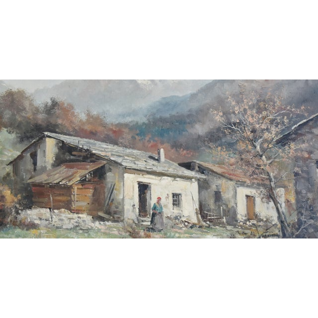 Rustic Framed Country Cottage Landscape Oil Painting For Sale - Image 4 of 10