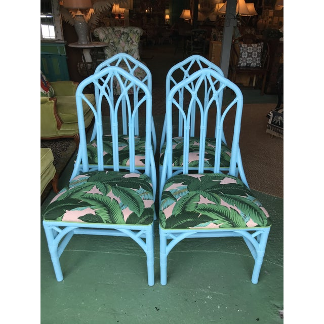 Coastal Regency Lexington Cathedral Turquoise Palm Leaf Upholstered Chairs-Four For Sale - Image 12 of 12