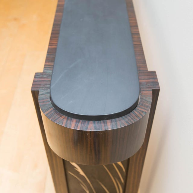 Macassar Ebony and Patinated Steel Console Table by Gregory Clark For Sale In New York - Image 6 of 8
