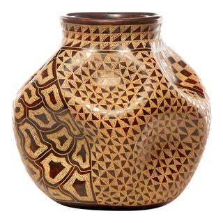 Nicaraguan Pinched and Etched Pottery Vase For Sale