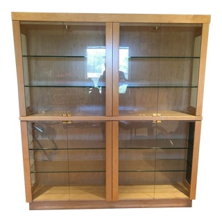 Custom-Built Light Colored Wood and Glass Display Cabinet For Sale