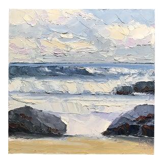 Original Oil Seascape Ocean Beach Palette Painting Signed