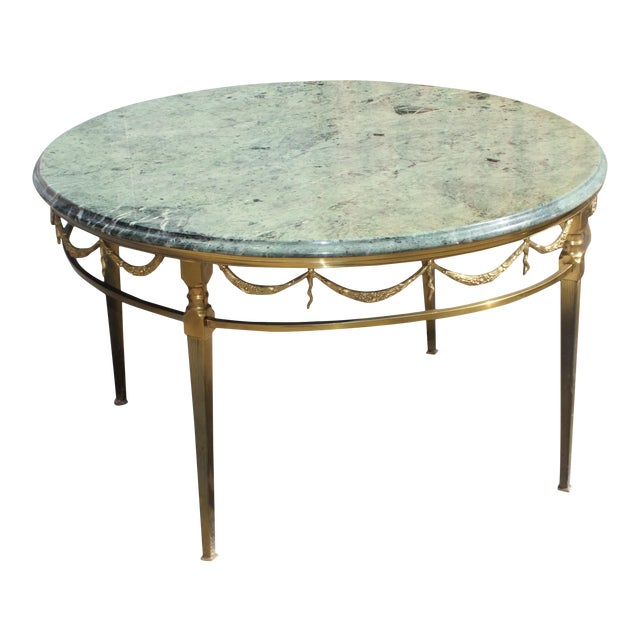 Round Coffee Tables With Marble Top: Maison Jansen Bronze With Round Marble Top Coffee Table