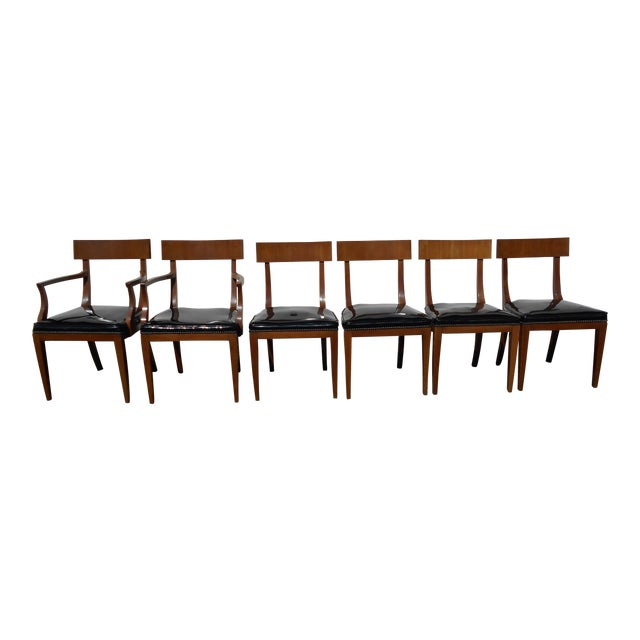 Mid-Century Patent Leather Dining Chairs - Set of 6 - Image 1 of 11