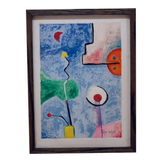 Graphic Geometric Abstract by Yoshihiro Ueda Gouache For Sale