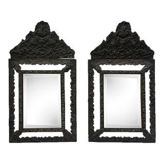 Fin-De-Siècle Italian Hand-Carved Cushion Mirrors - A Pair For Sale