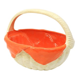 Vintage Ceramic Basket With Orange Napkin Lining For Sale