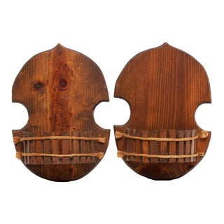 1960s Japanese Style Wood Brackets - a Pair