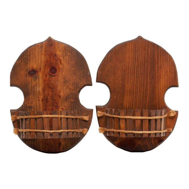 1960s Japanese Style Wood Brackets - a Pair - Image 1 of 11