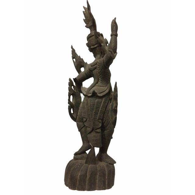 Asian Antique 1920s Carved Khamphi Rosewood Burmese Temple Guardian Statue For Sale - Image 3 of 10