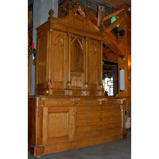 Gothic Carved Oak Vestment Cabinet with Light Preview