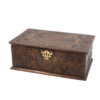 A 17th Century Carved Oak Box With Side Drawer Dated 1655.