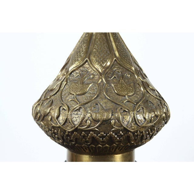 Moorish Indo Persian Brass Table Lamp For Sale In Los Angeles - Image 6 of 8