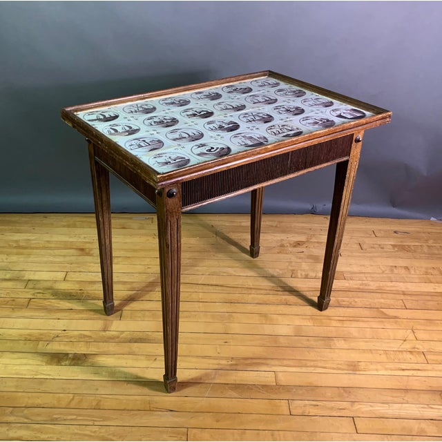 19th Century Louis XVI Style Table, Manganese Faiance Tiles For Sale - Image 10 of 10