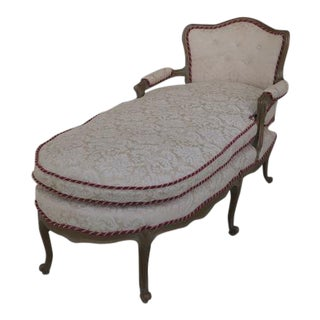 French Louis XV Style Upholstered Chaise Lounge For Sale