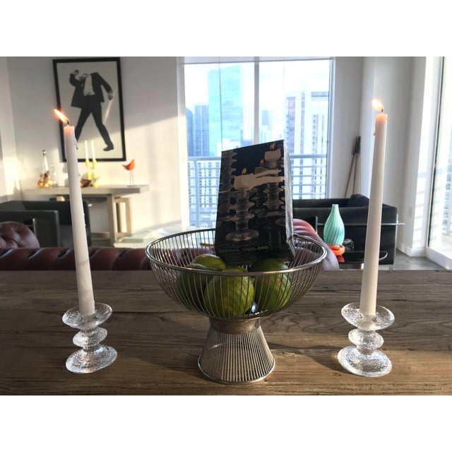 Transparent 1960s Timo Sarpaneva for Iittala of Finland - a Pair of Brutalist Glass Candleholders and the Original Box For Sale - Image 8 of 8