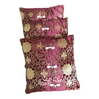 Red Asian Silk Embroidered Pillows - Set of 3 For Sale
