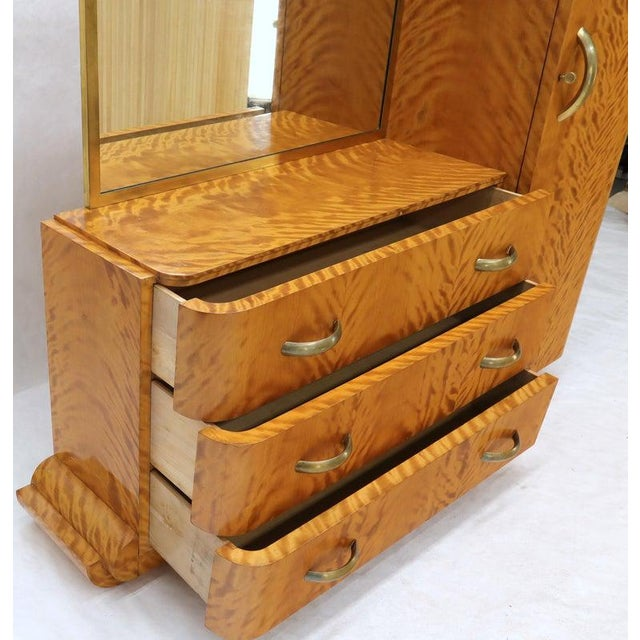 French Art Deco Chifforobe Dresser With Mirror Closet Cabinet Tiger Maple For Sale - Image 10 of 13