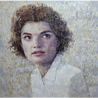Oil on Canvas of Jackie O With Gold Leaf For Sale