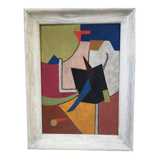 Vintage Mid Century Abstract Geometric Oil Painting For Sale