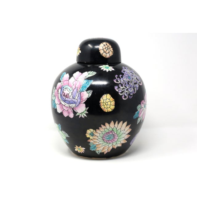 Black Hand-Painted Melon Jar With Flowers For Sale - Image 11 of 11