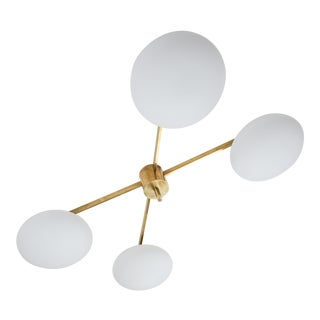 Vintage Angelo Lelli Style Italian Brass and Opaline Ceiling Lamp For Sale