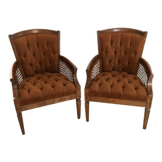 1970s Vintage Caned Velvet Chairs - A Pair For Sale
