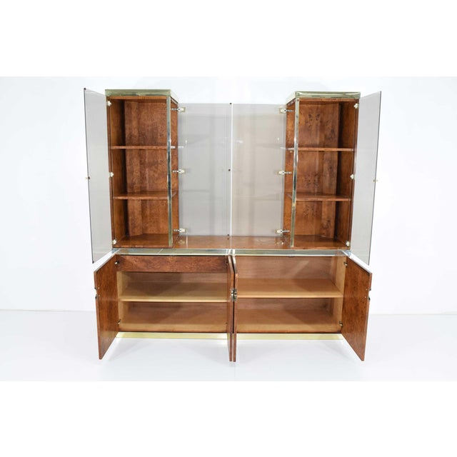 Gold 1970s Pierre Cardin Signed Burl Wood Sideboard With Two Tower Cabinets, France For Sale - Image 7 of 13