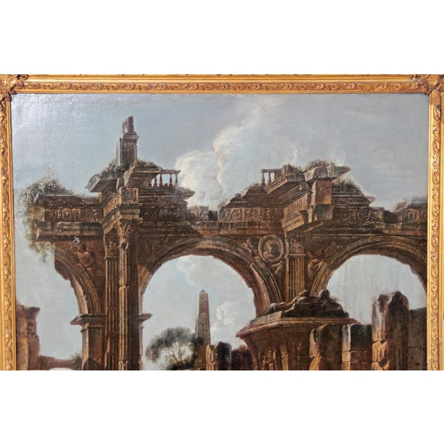 Baroque Painting / Classical Ruins Attributed to Giovanni Ghisolfi (1623-1683) For Sale - Image 9 of 13