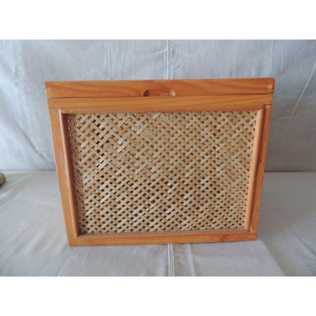 Woven Bamboo Trellis Pattern Filing Box With Lid For Sale - Image 4 of 7