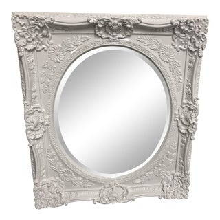 Horchow Howard Elliott Collection White Finish Baroque Wall Mirror For Sale