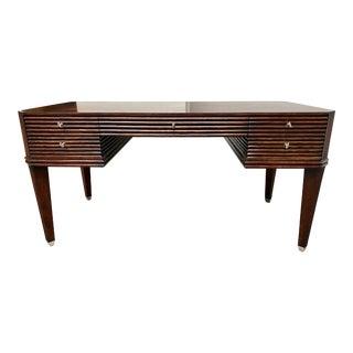 Rattan Wood + Oak Desk For Sale