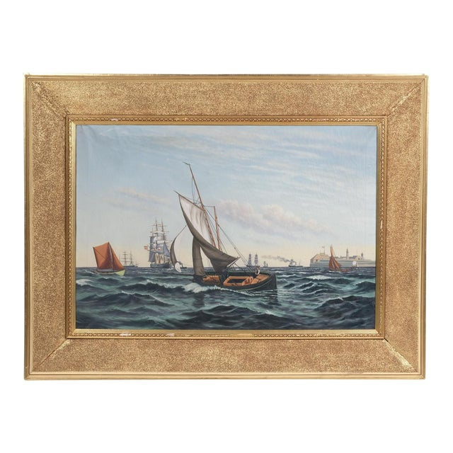 """""""Ships Coming to Harbor"""" Seascape For Sale"""