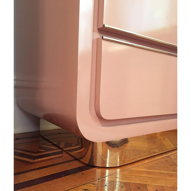 Late 20th Century Modern Rose Pink Laminate Armoire With Brass Base For Sale - Image 5 of 12