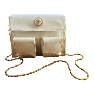 1980s Gianni Versace White Silk Medusa Purse With Gold Chain For Sale
